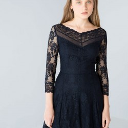 Dantelli Siyah Bershka 2015 Elbise Modelleri