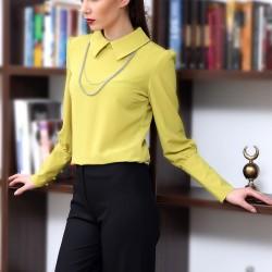 Kolları Düğmeli Yağ Yeşili 2015 Yazlık Bluz Modelleri