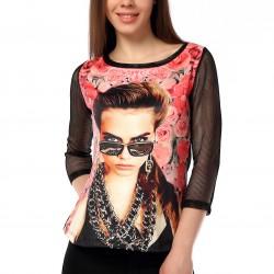 Kolları Fileli Desenli 2015 Yazlık Bluz Modelleri