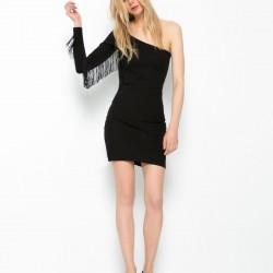 Tek Omuz Püskül Detaylı Siyah Bershka 2015 Elbise Modelleri