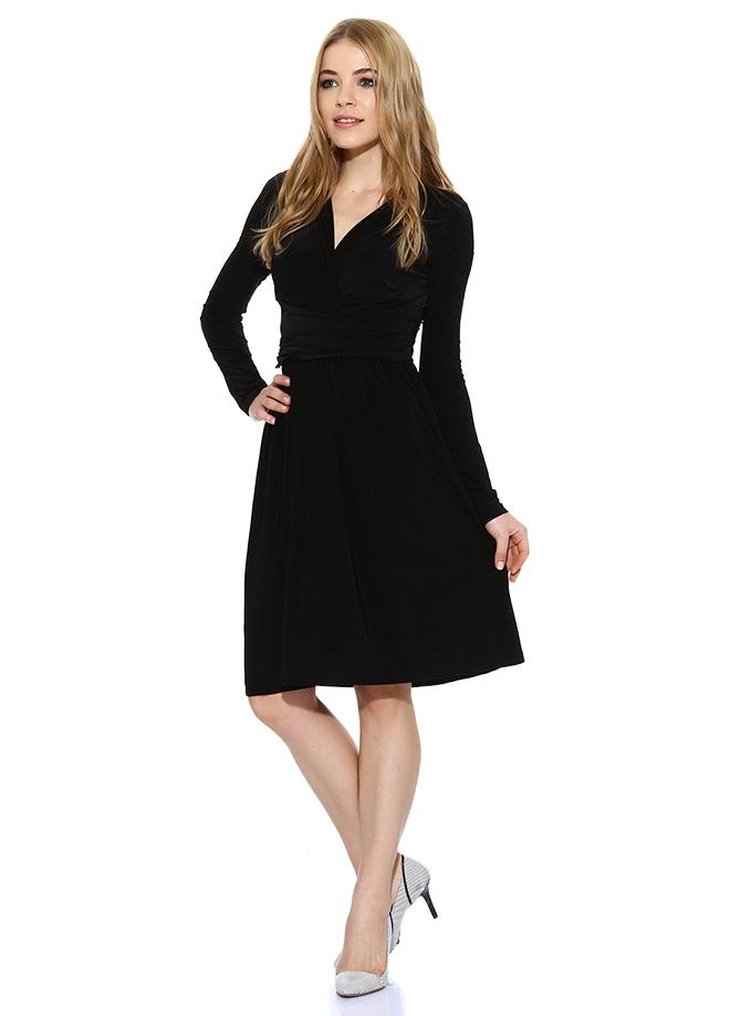 Uzun Kol Siyah Elbise 2015 Batik Modelleri