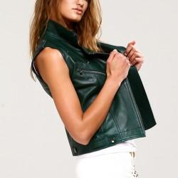 Yeşil Yeni Sezon Deri Yelek Modelleri