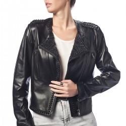 Zımba Detaylı Siyah Deri Ceket 2015 Derimod Modelleri