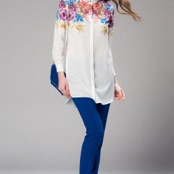 Çiçek Desenli Ekru Vavist Tunik Modelleri
