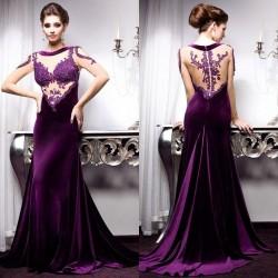 İddialı Mor Kadife Elbise Modası
