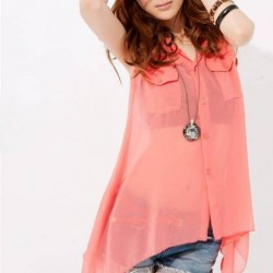 Şifon 2015 Kolsuz Gömlek Modelleri