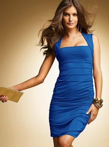 Askılı Saks Mavisi Elbise Modelleri