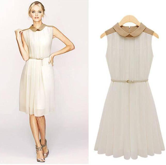 Bebe Yaka Beyaz 2015 Pileli Elbise Modelleri