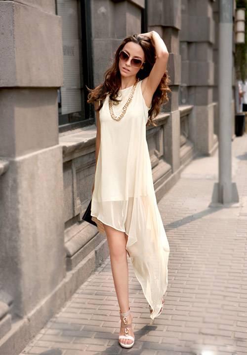 Beyaz 2015 Asimetrik Kesim Elbise Modelleri