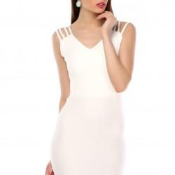 Biye Detaylı Beyaz Yeni Sezon Spor Elbise Modelleri