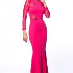 Dantelli Fuşya 2015 Gece Elbisesi Modelleri