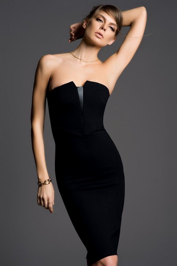 Deri Detaylı Siyah İnce Gösteren Elbise Modelleri