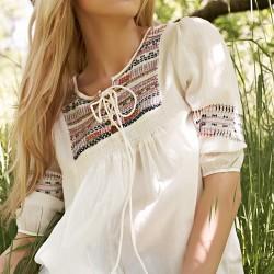 Etnik Desenli Beyaz Dilvin Yazlık Bluz Modelleri