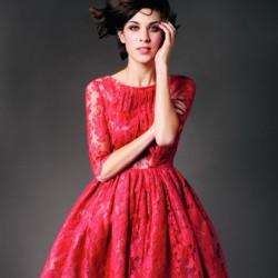 Kırmızı En Güzel Dantelli Elbise Modelleri