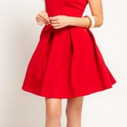 Kırmızı Geniş Pileli 2015 Pileli Elbise Modelleri