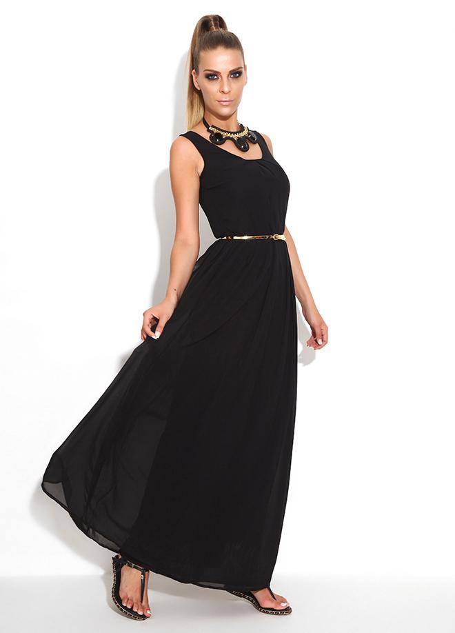 Kemer Detaylı Askılı Siyah Bayram İçin Elbise Modelleri