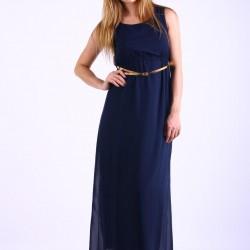 Kolsuz Uzun Lacivert Şifon Elbise Modelleri