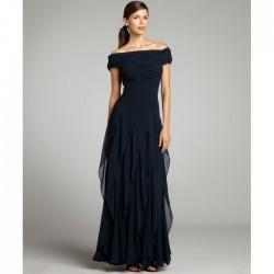 Lacivert Şifon Elbise Modelleri