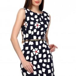 Papatya Desenki Lacivert Yeni Sezon Spor Elbise Modelleri