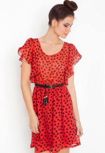 1cae41e8e3806 ... Puantiyeli Kırmızı Şifon Elbise Modelleri ...