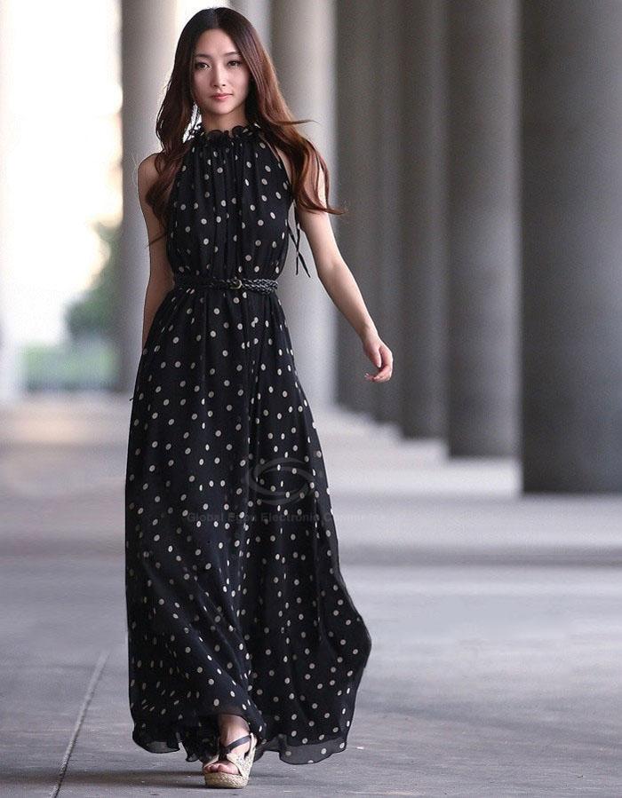 381dfd9608b2c Puantiyeli-Kolsuz-Siyah-Şifon-Elbise-Modelleri.jpg ...