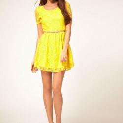 Sarı En Güzel Dantelli Elbise Modelleri