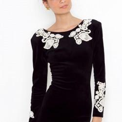 Siyah Kadife Elbise Modası