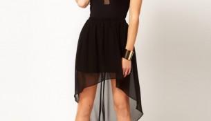 Tül Detaylı Siyah 2015 Asimetrik Kesim Elbise Modelleri