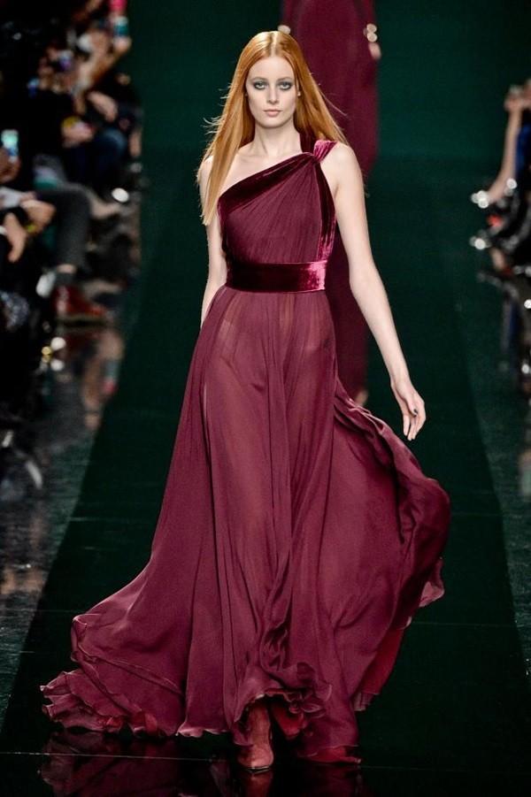 Tek Omuz Bordo Şifon Elbise Modelleri
