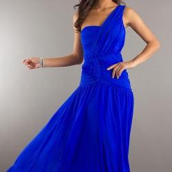 Tek Omuz Saks Mavisi Elbise Modelleri
