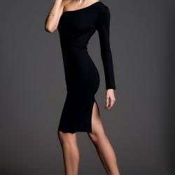 Tek Omuz Siyah İnce Gösteren Elbise Modelleri