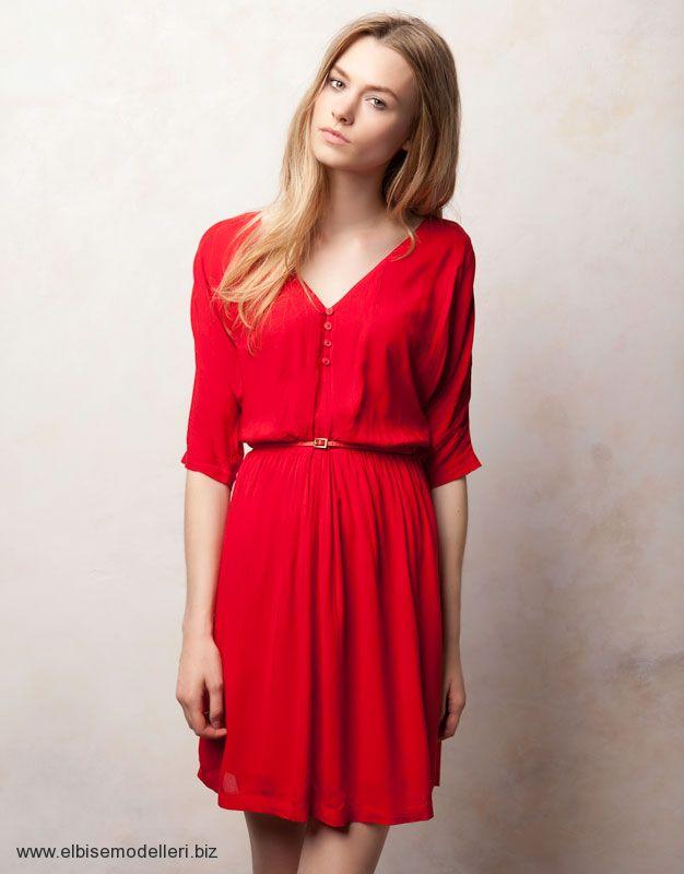 2a343ed149e74 ... V Yaka Kırmızı Yetim Kol Elbise Modelleri ...