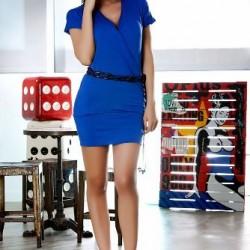 V Yaka Saks Mavisi Elbise Modelleri