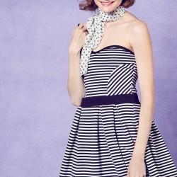 Çizgi Desenli Straplez Dilvin Elbise Modelleri