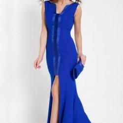 Önü Pliseli Saks Mavisi 2015 Elbise Modelleri