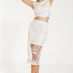 Dantel Detaylu Ekru 2015 Elbise Modelleri