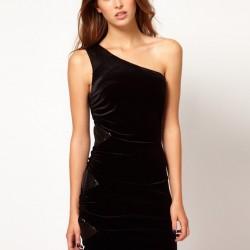 Kadife Siyah Tek Omuz Elbise Modelleri