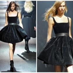 Kloş Siyah Kadife Etek Modası