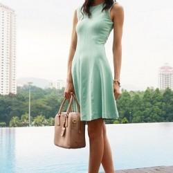 Kolsuz Kısa Yazlık Mint Yeşili Elbise Modelleri
