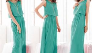 Kolsuz Uzun Yazlık Mint Yeşili Elbise Modelleri