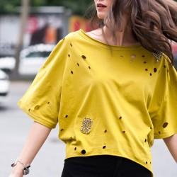 Lazer Kesim Sarı Olgun Orkun Bluz Modelleri
