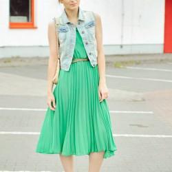 Pile Detaylı Yazlık Mint Yeşili Elbise Modelleri