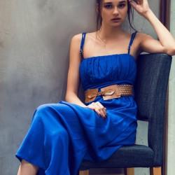 Saks Mavisi Elbise 2015 Yaz Sokak Modası