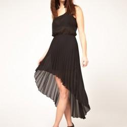 Siyah Önü Kısa Arkası Uzun Yeni Pileli Elbise Modelleri