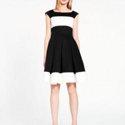 Siyah Beyaz Yeni Pileli Elbise Modelleri