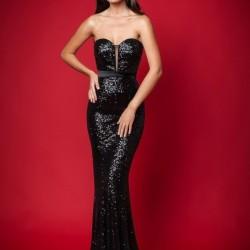 Siyah Straplez 2015 Payetli Elbise Modelleri