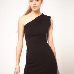 Siyah Tek Omuz Elbise Modelleri