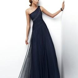 Tül Detaylı Tek Omuz Elbise Modelleri