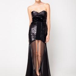 Tüllü Siyah 2015 Payetli Elbise Modelleri
