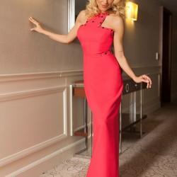 Taş Detaylı Fuşya 2015 Elbise Modelleri